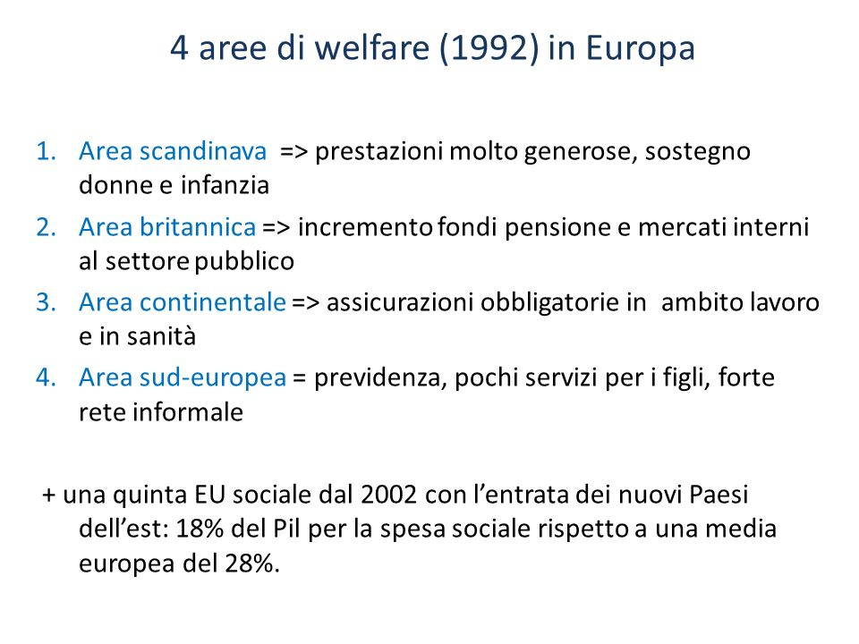 4 aree di welfare (1992) in Europa