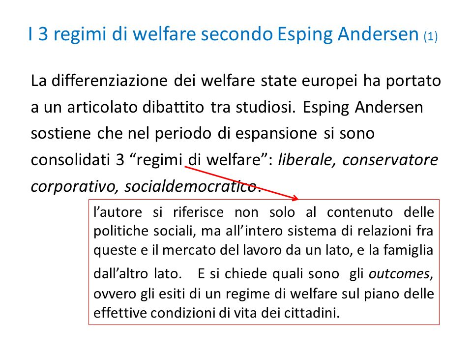 I 3 regimi di welfare secondo Esping Andersen (1)