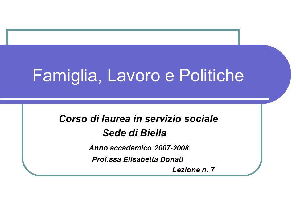 Famiglia, Lavoro e Politiche
