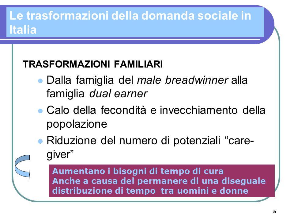 Le trasformazioni della domanda sociale in Italia