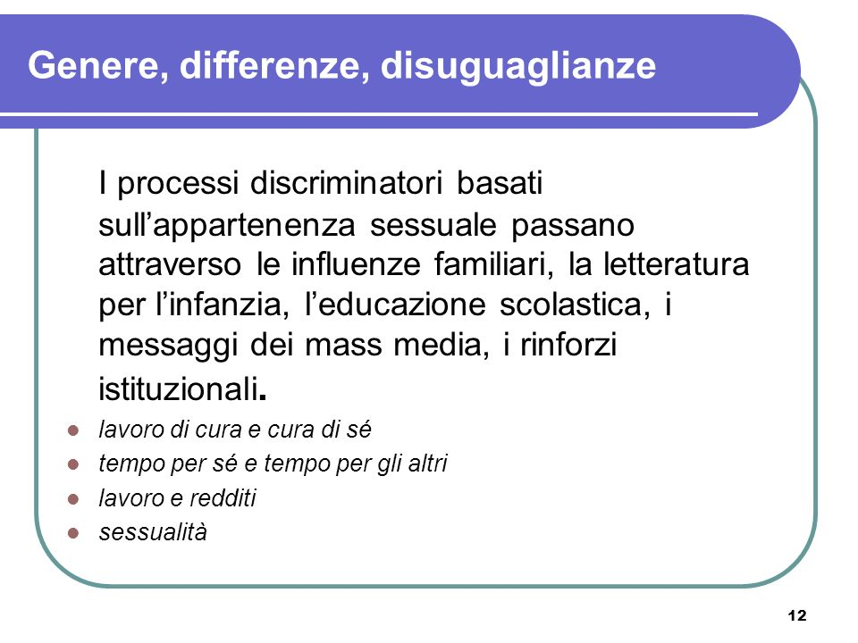 Genere, differenze, disuguaglianze