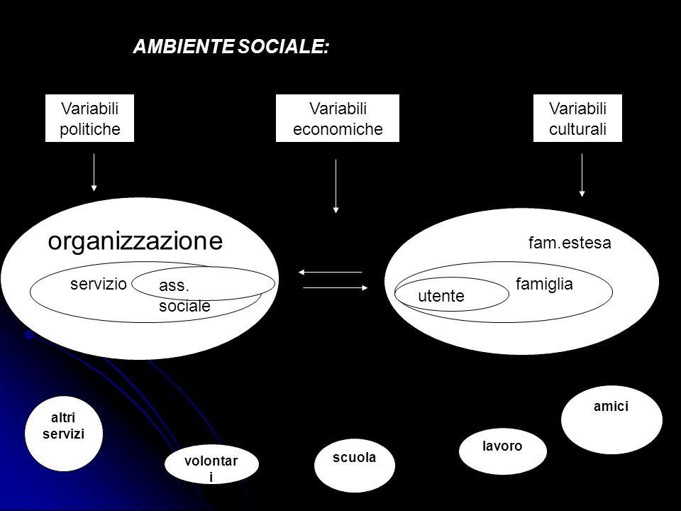 organizzazione AMBIENTE SOCIALE: Variabili politiche