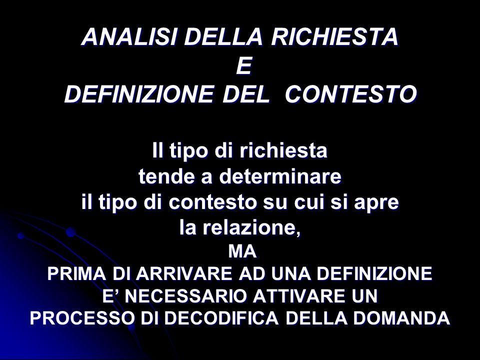 ANALISI DELLA RICHIESTA E DEFINIZIONE DEL CONTESTO