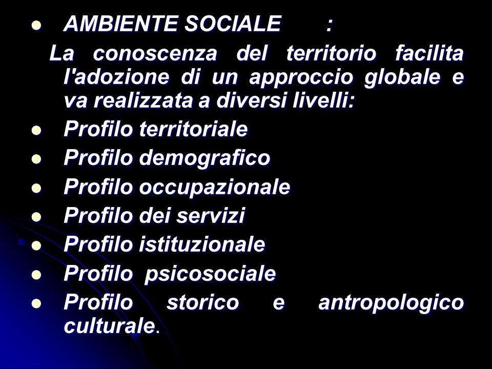 AMBIENTE SOCIALE : La conoscenza del territorio facilita l adozione di un approccio globale e va realizzata a diversi livelli: