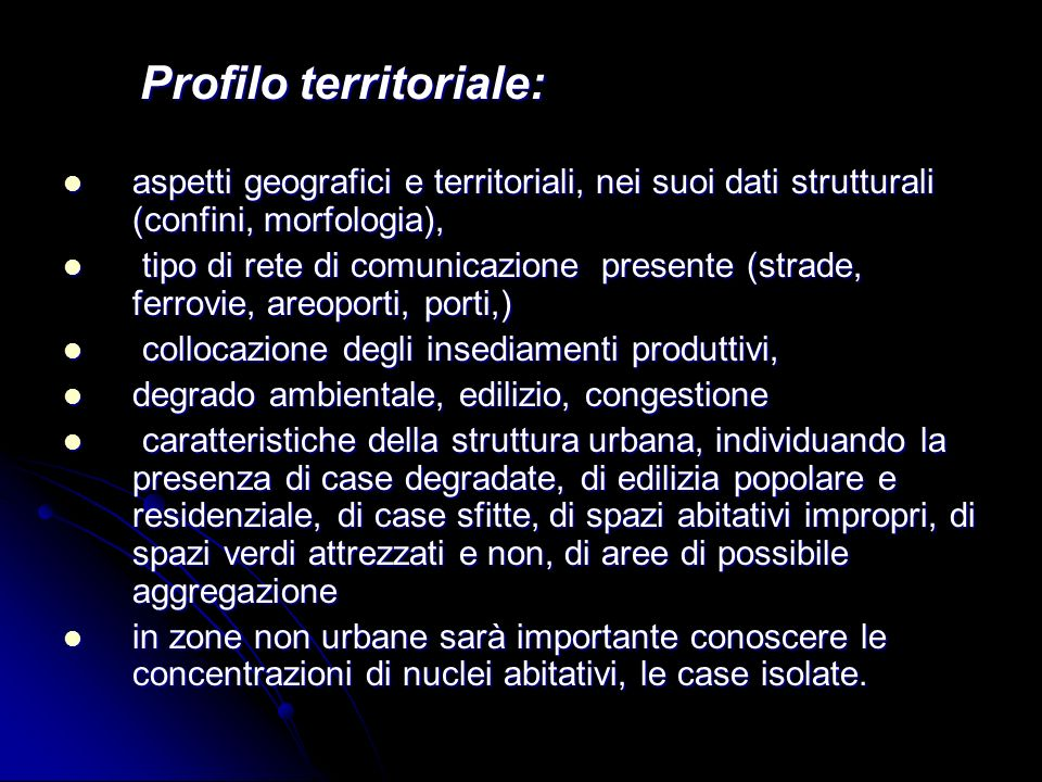 Profilo territoriale: