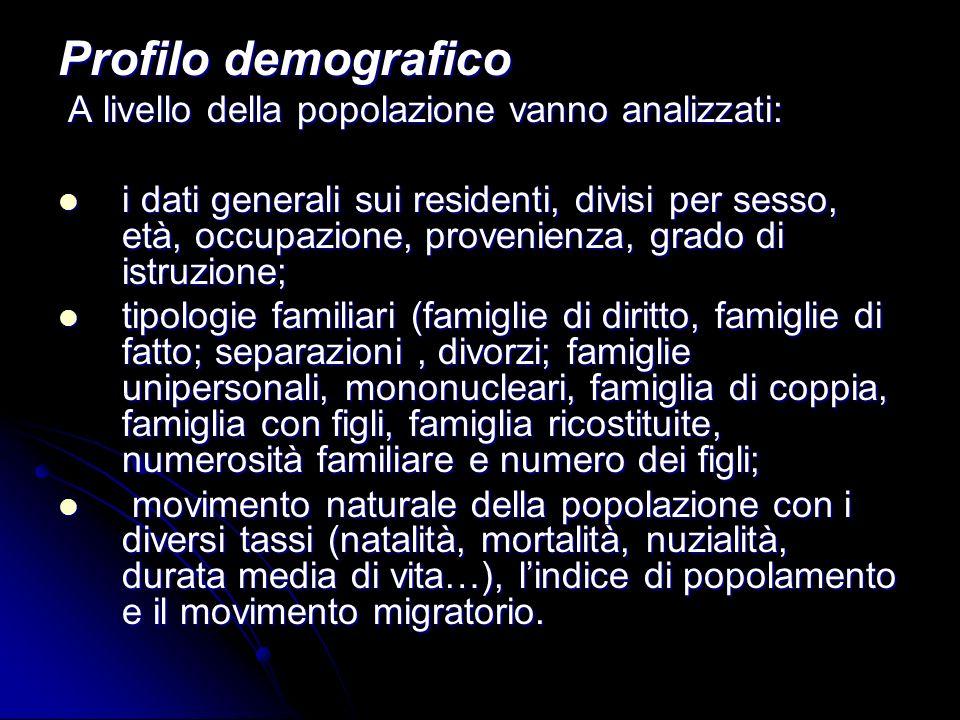 Profilo demografico A livello della popolazione vanno analizzati: