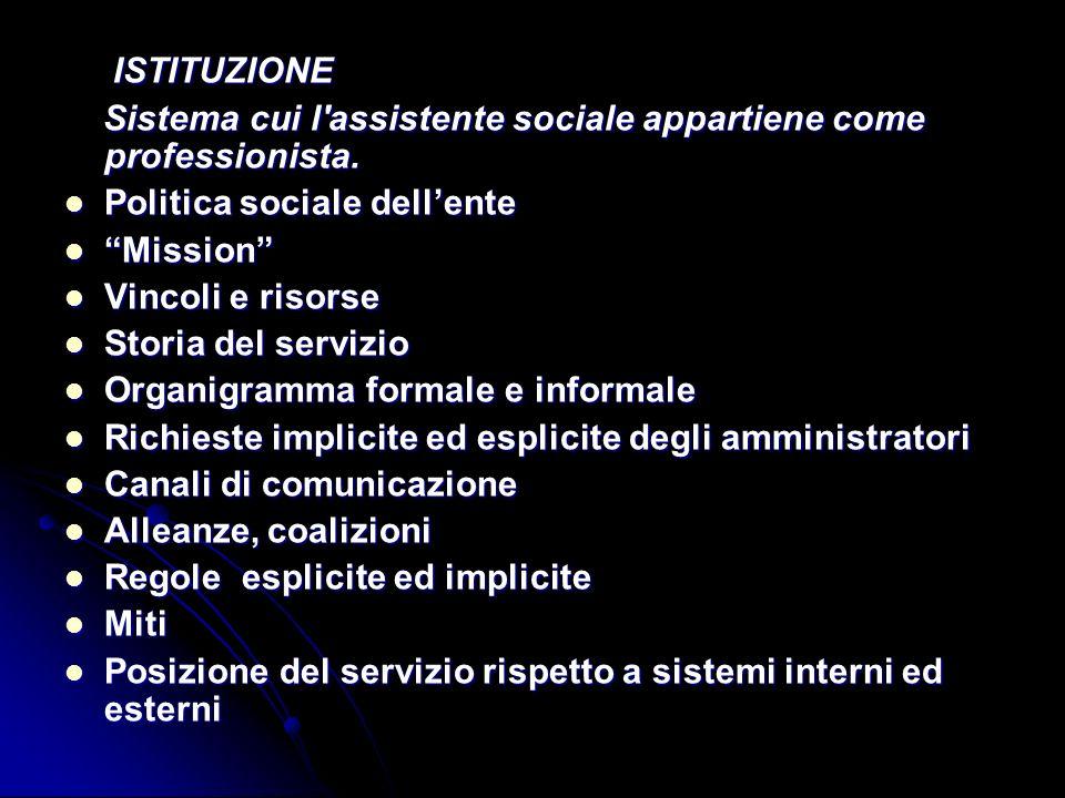 ISTITUZIONE Sistema cui l assistente sociale appartiene come professionista. Politica sociale dell'ente.
