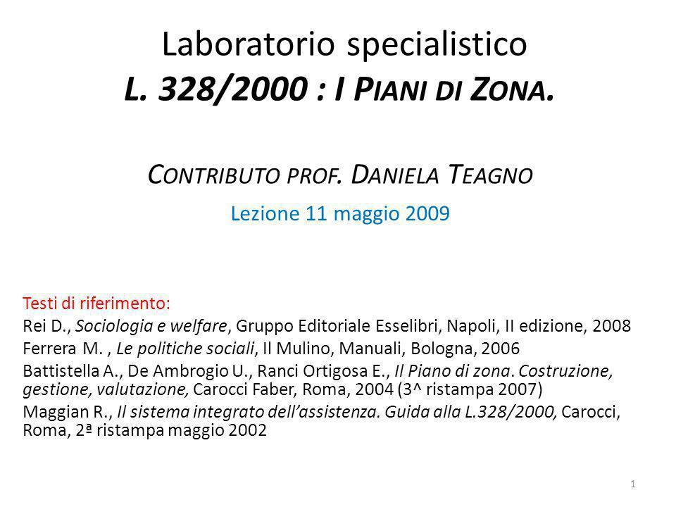 Laboratorio specialistico L. 328/2000 : I Piani di Zona