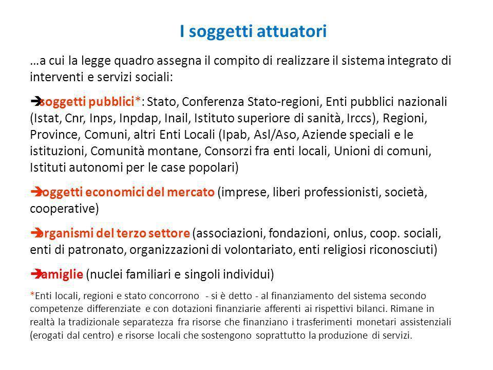 I soggetti attuatori …a cui la legge quadro assegna il compito di realizzare il sistema integrato di interventi e servizi sociali: