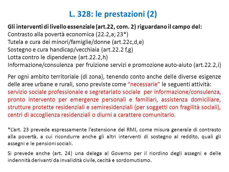 L. 328: le prestazioni (2) Gli interventi di livello essenziale (art.22, com. 2) riguardano il campo del: