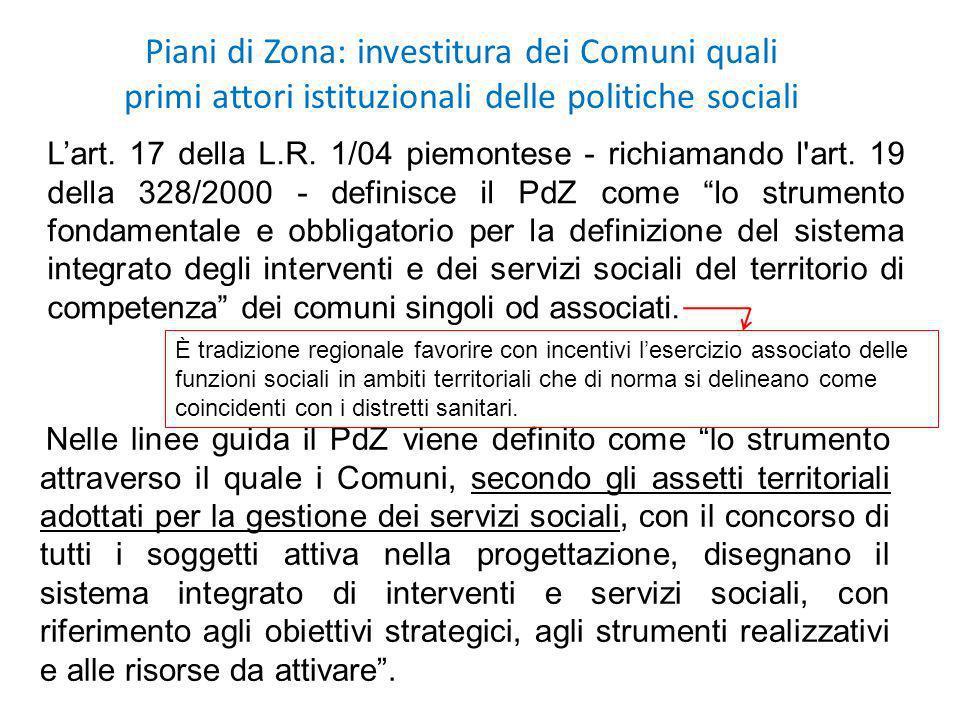 Piani di Zona: investitura dei Comuni quali