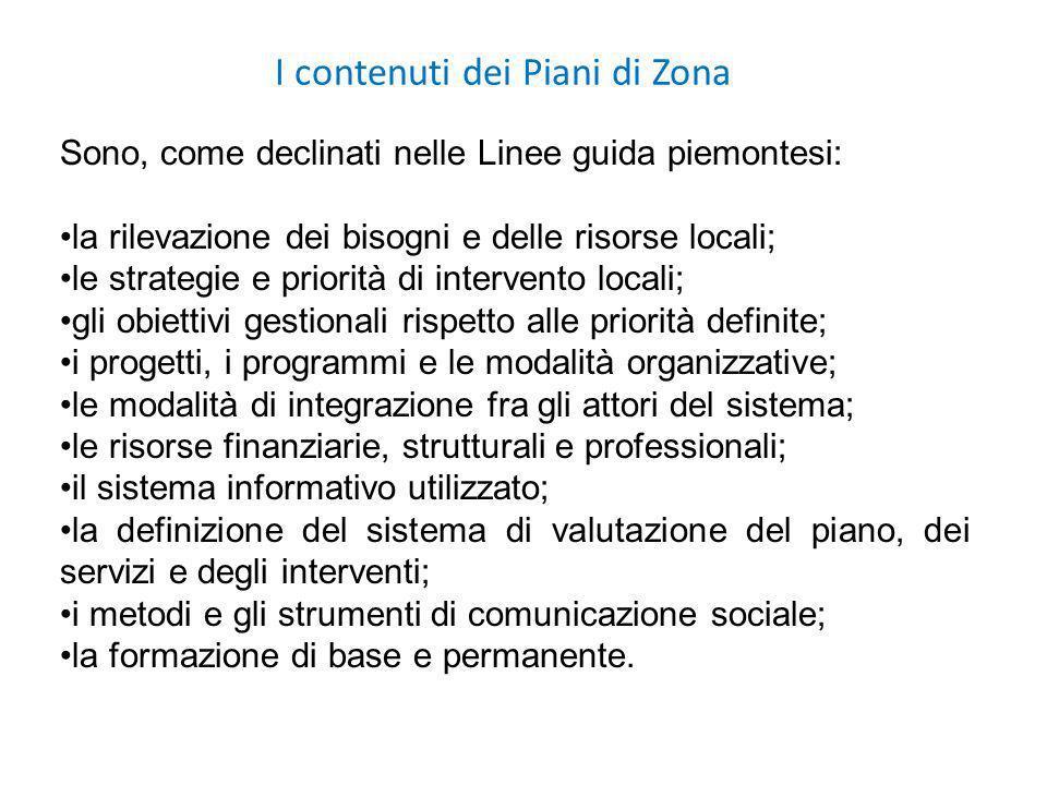 I contenuti dei Piani di Zona