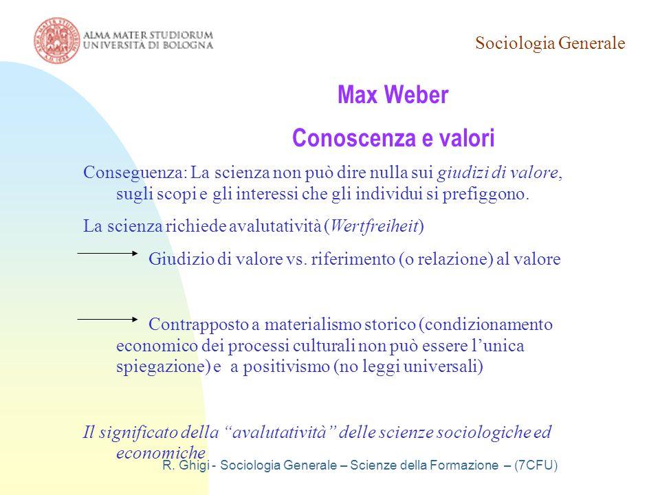 Max Weber Conoscenza e valori
