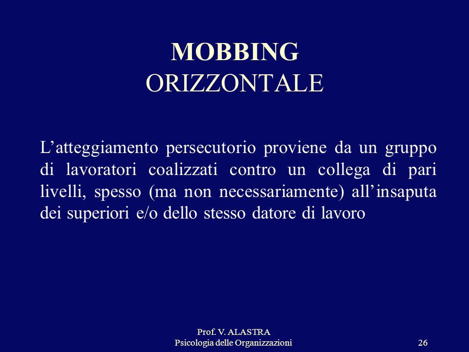 Prof. V. ALASTRA Psicologia delle Organizzazioni
