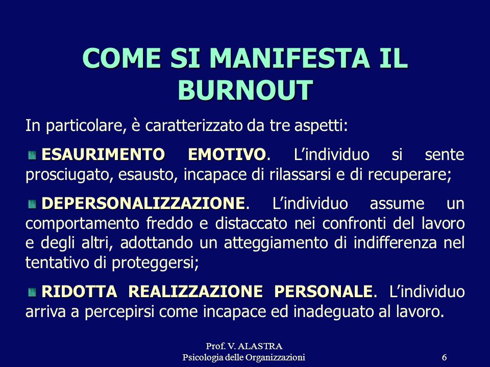COME SI MANIFESTA IL BURNOUT