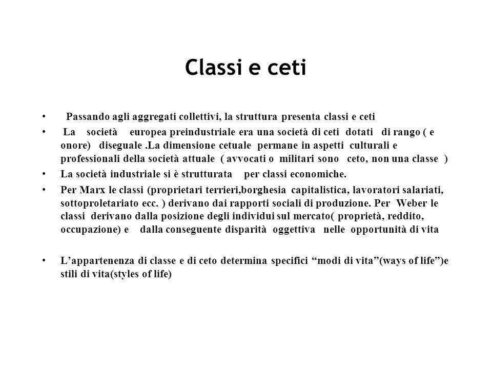 Classi e ceti Passando agli aggregati collettivi, la struttura presenta classi e ceti.