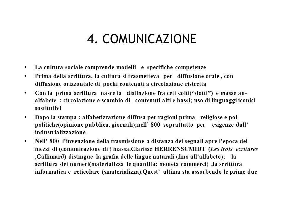 4. COMUNICAZIONE La cultura sociale comprende modelli e specifiche competenze.