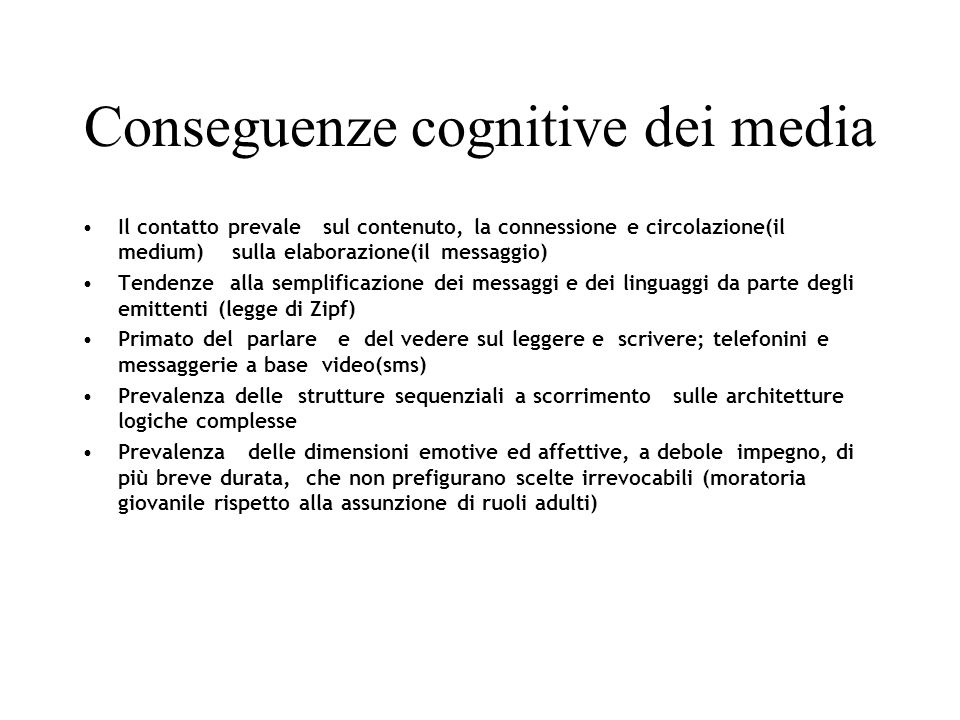 Conseguenze cognitive dei media