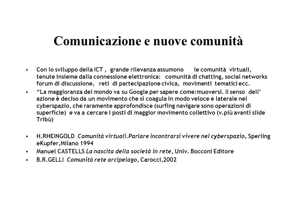 Comunicazione e nuove comunità