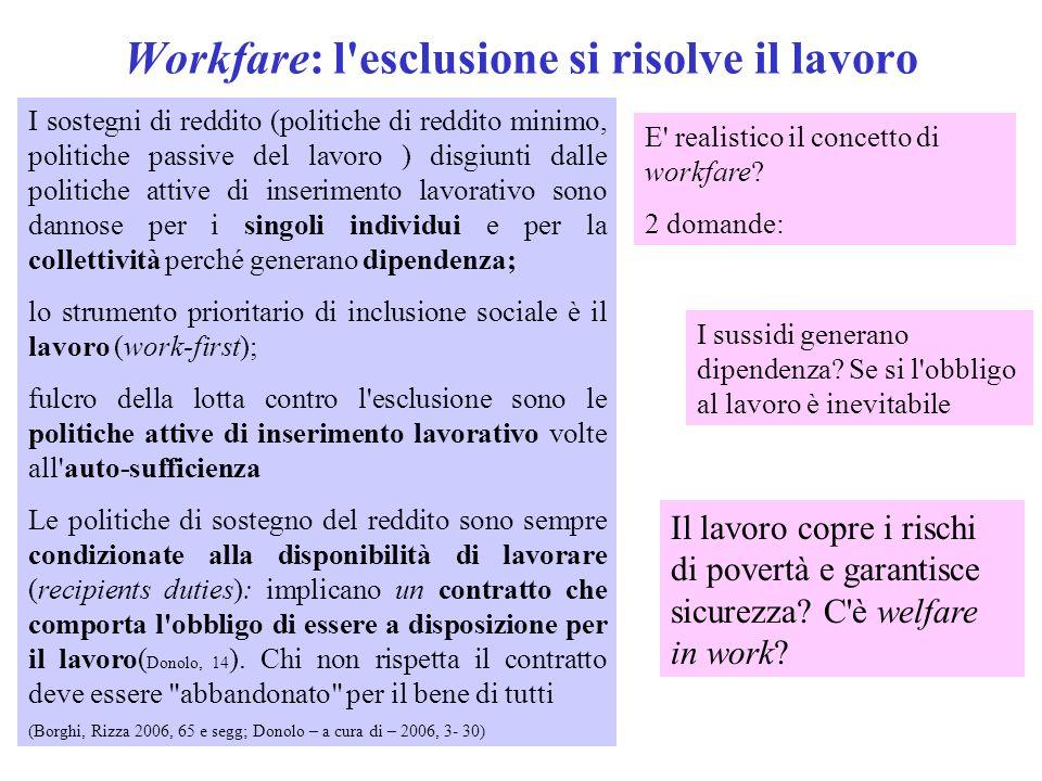 Workfare: l esclusione si risolve il lavoro