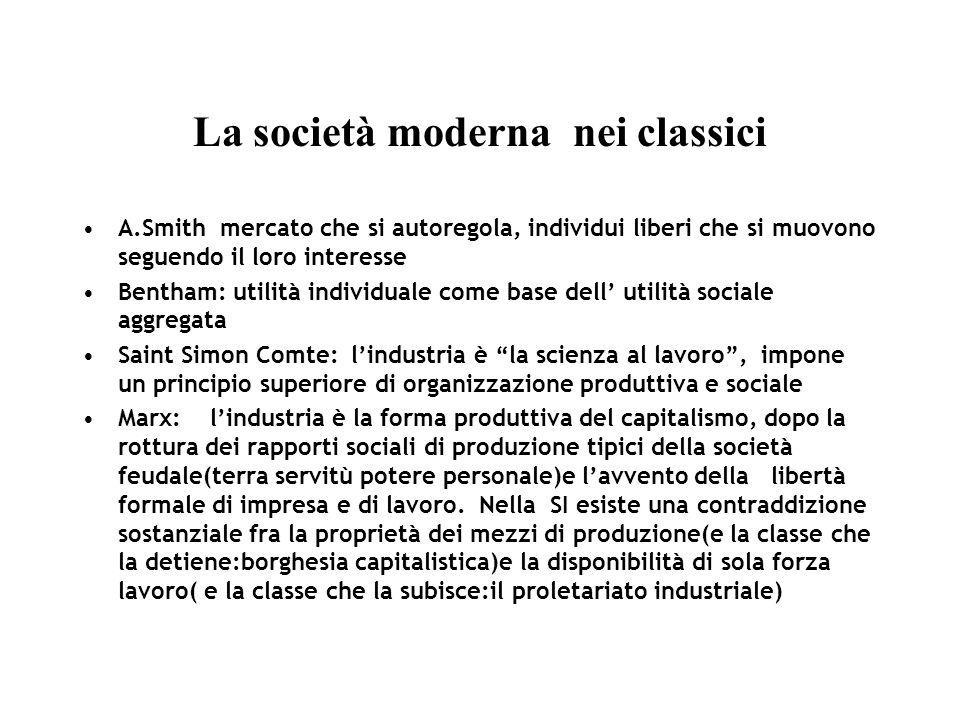 La società moderna nei classici