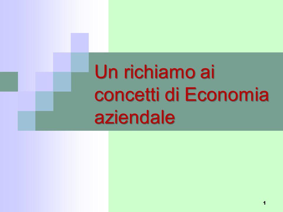 Un richiamo ai concetti di Economia aziendale