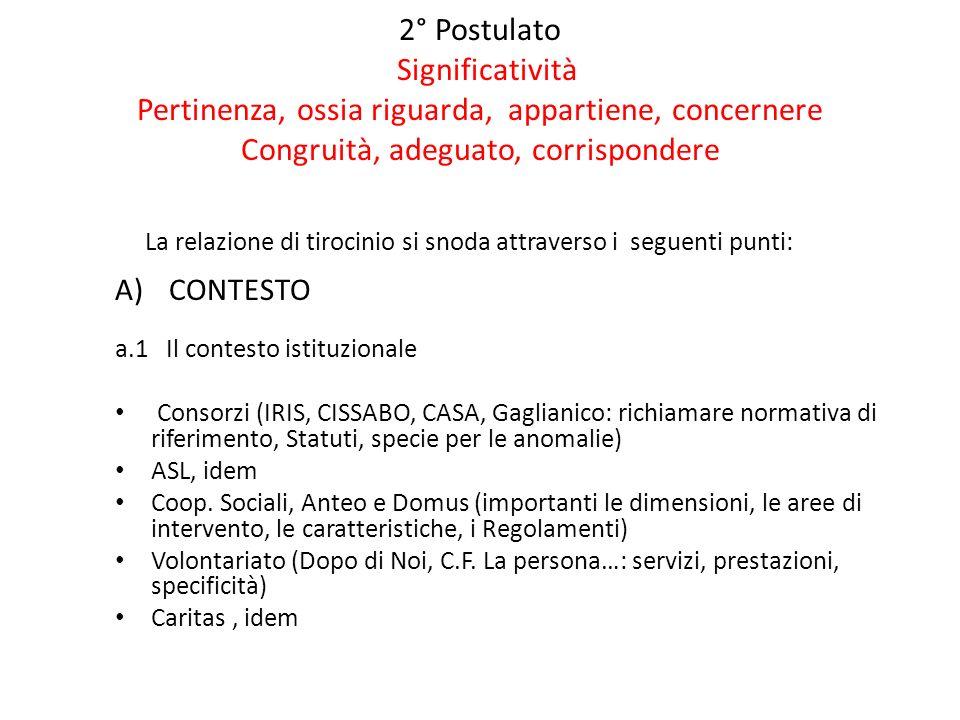 2° Postulato Significatività Pertinenza, ossia riguarda, appartiene, concernere Congruità, adeguato, corrispondere