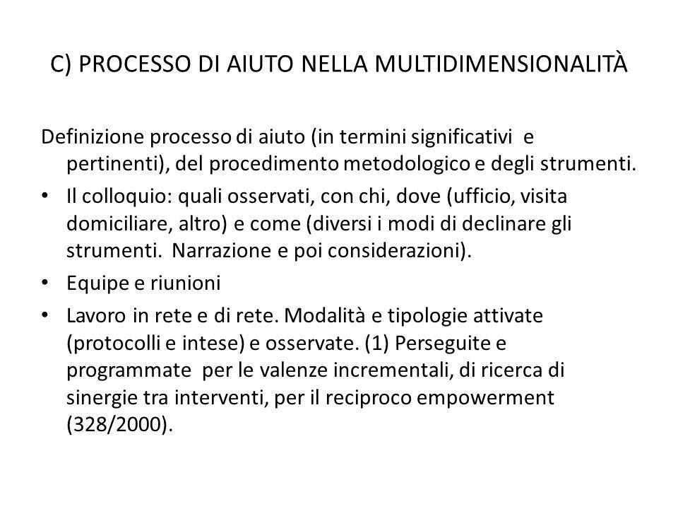 C) PROCESSO DI AIUTO NELLA MULTIDIMENSIONALITÀ