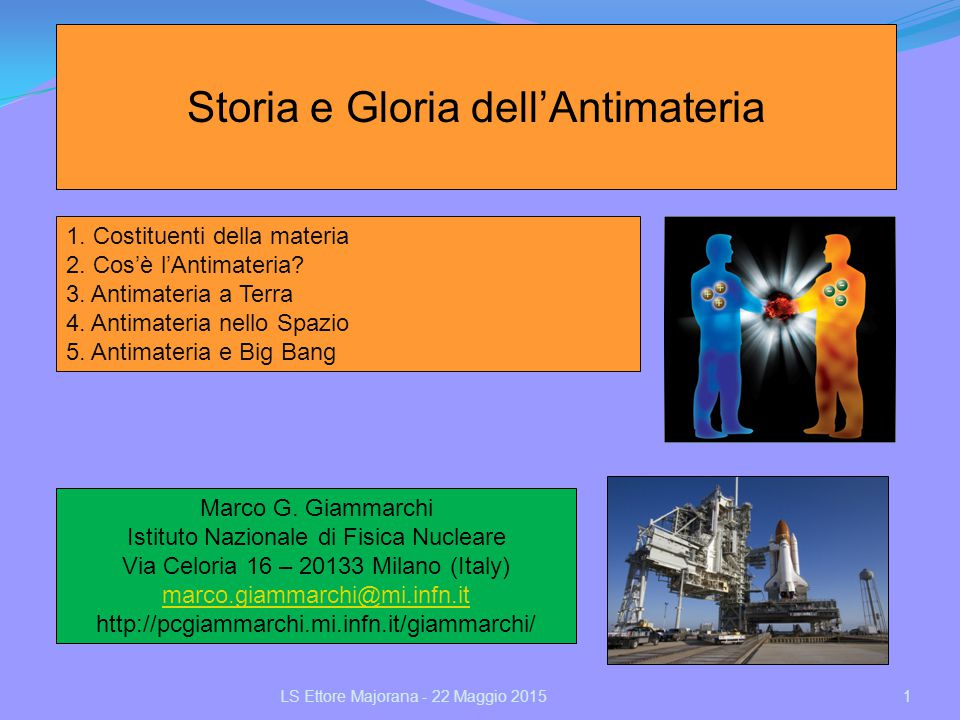 Storia e Gloria dell'Antimateria