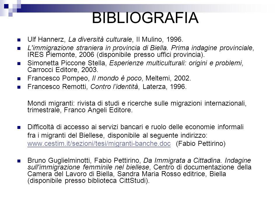 BIBLIOGRAFIA Ulf Hannerz, La diversità culturale, Il Mulino, 1996.