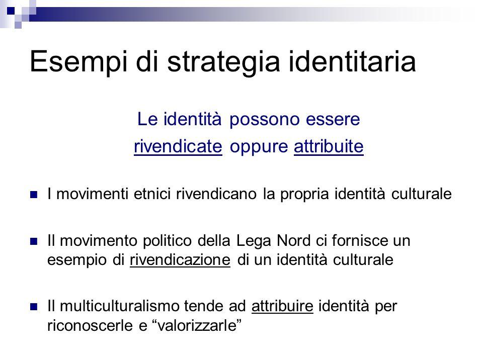 Esempi di strategia identitaria