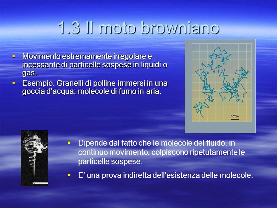1.3 Il moto browniano Movimento estremamente irregolare e incessante di particelle sospese in liquidi o gas.