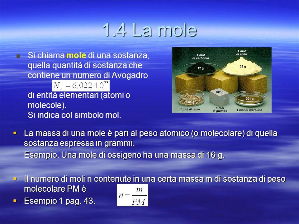 1.4 La mole Si chiama mole di una sostanza, quella quantità di sostanza che contiene un numero di Avogadro.