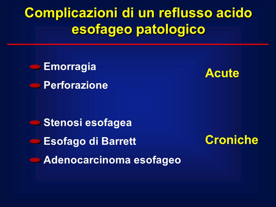 Complicazioni di un reflusso acido esofageo patologico