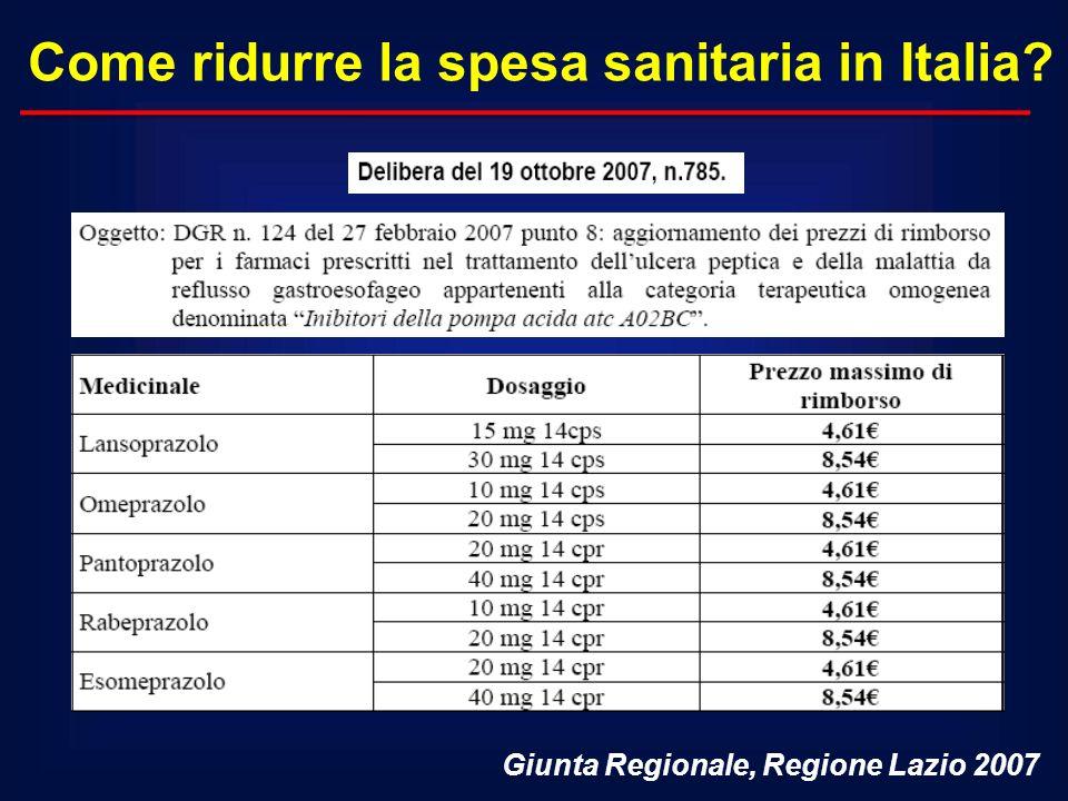 Come ridurre la spesa sanitaria in Italia