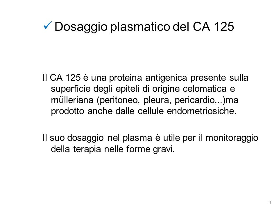 Dosaggio plasmatico del CA 125