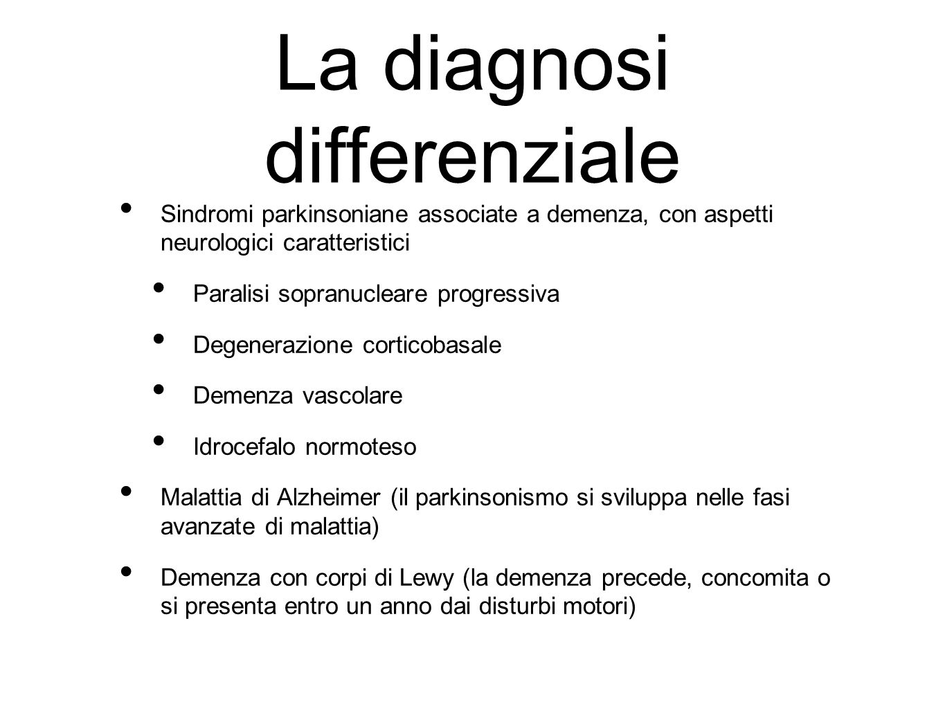 La diagnosi differenziale