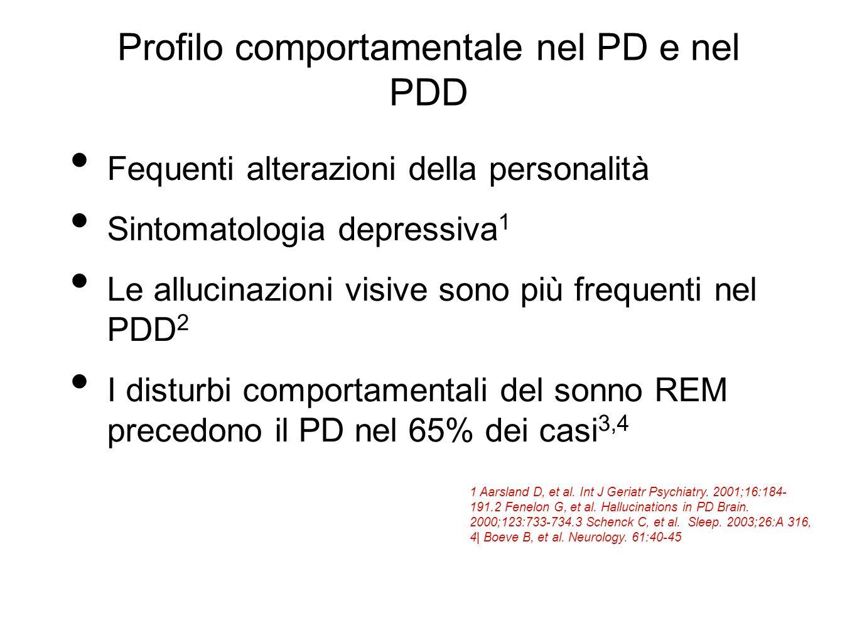 Profilo comportamentale nel PD e nel PDD