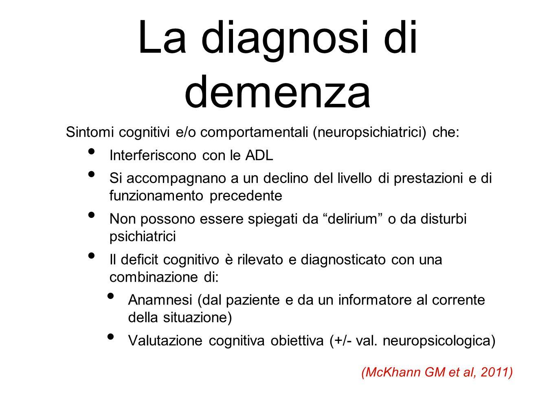 La diagnosi di demenza Sintomi cognitivi e/o comportamentali (neuropsichiatrici) che: Interferiscono con le ADL.