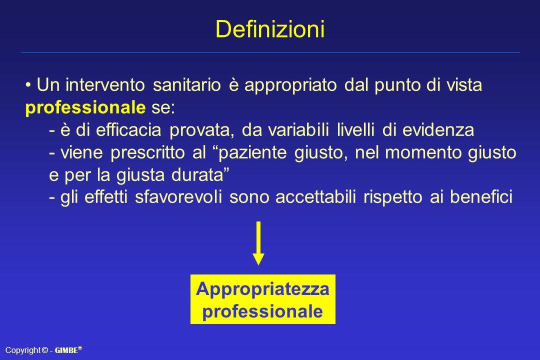 Definizioni Un intervento sanitario è appropriato dal punto di vista professionale se: è di efficacia provata, da variabili livelli di evidenza.