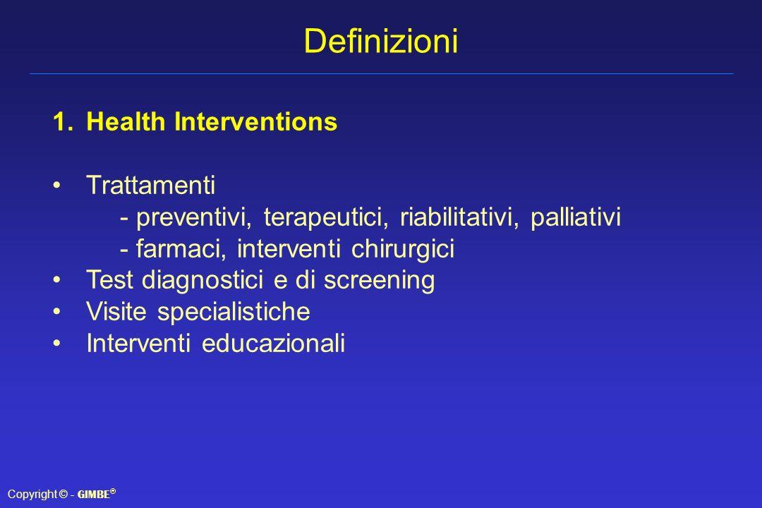 Definizioni Health Interventions Trattamenti