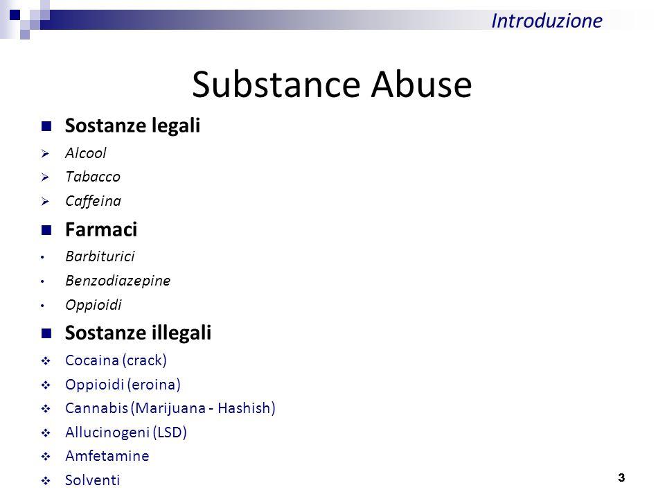 Substance Abuse Introduzione Sostanze legali Farmaci Sostanze illegali