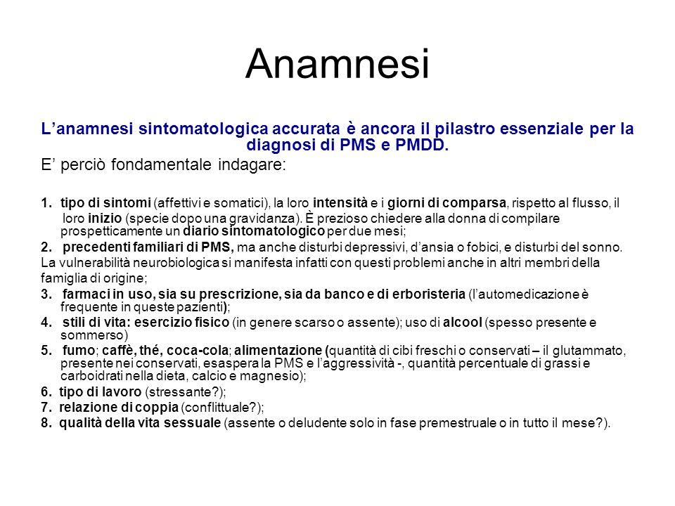 Anamnesi L'anamnesi sintomatologica accurata è ancora il pilastro essenziale per la diagnosi di PMS e PMDD.