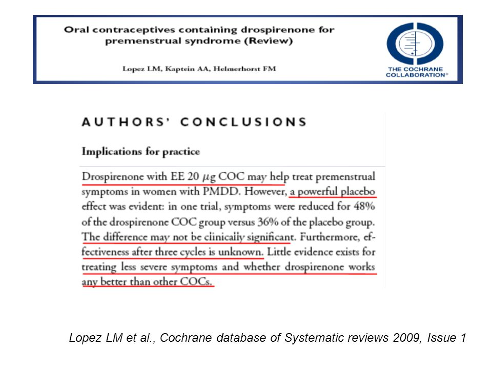 Lopez LM et al., Cochrane database of Systematic reviews 2009, Issue 1