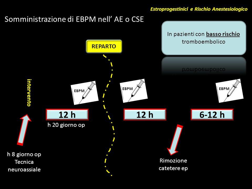 12 h 12 h 6-12 h Somministrazione di EBPM nell' AE o CSE