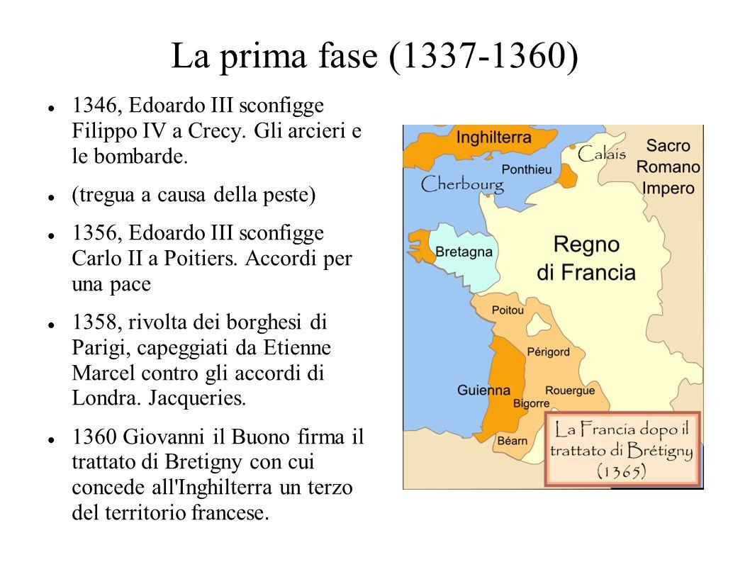 La prima fase (1337-1360) 1346, Edoardo III sconfigge Filippo IV a Crecy. Gli arcieri e le bombarde.