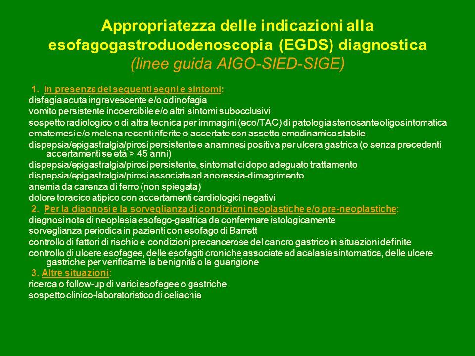 Appropriatezza delle indicazioni alla esofagogastroduodenoscopia (EGDS) diagnostica (linee guida AIGO-SIED-SIGE)