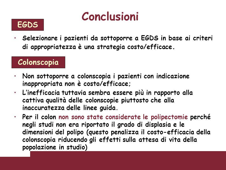 Conclusioni EGDS Colonscopia