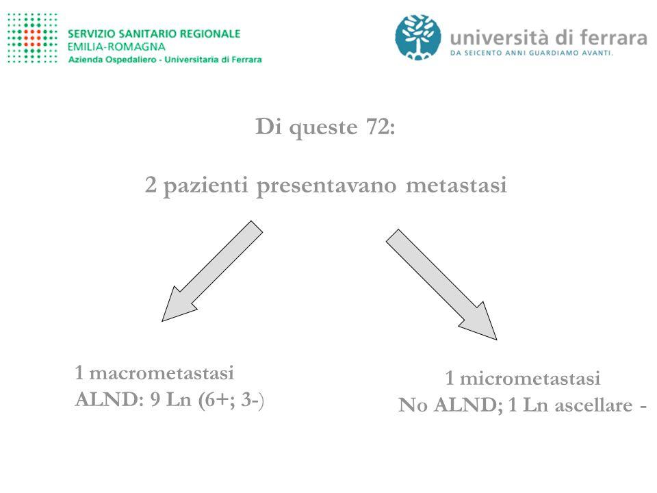 2 pazienti presentavano metastasi