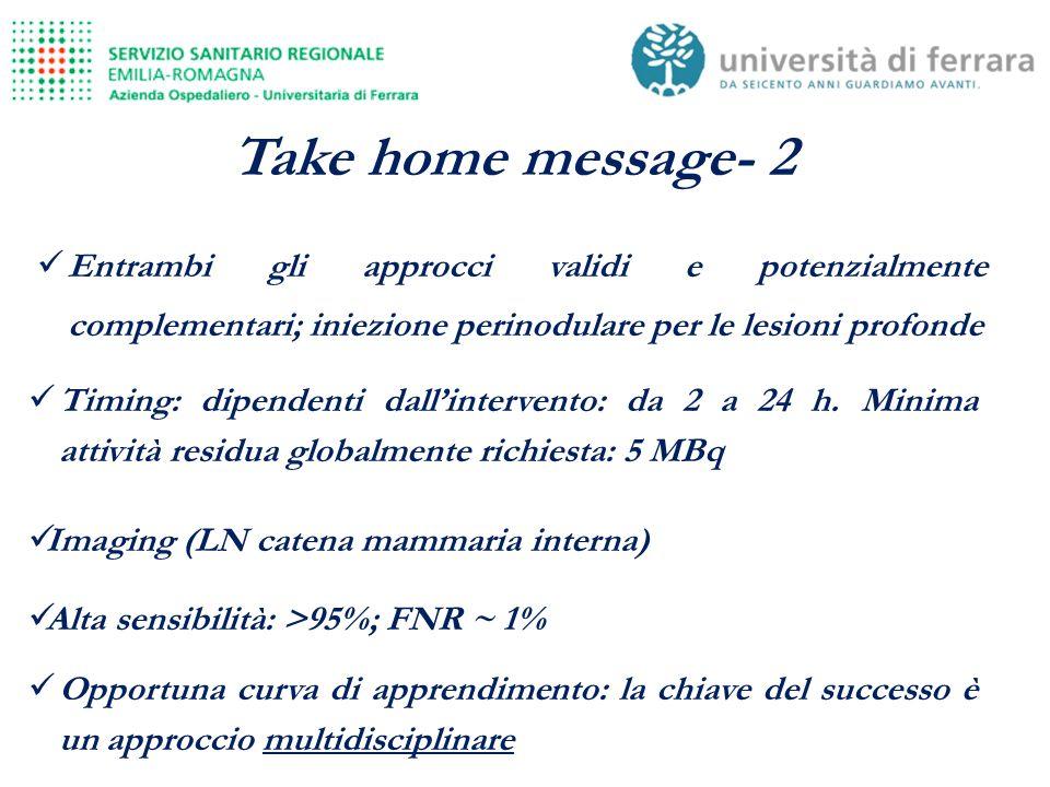 Take home message- 2 Entrambi gli approcci validi e potenzialmente complementari; iniezione perinodulare per le lesioni profonde.